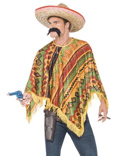 Purchase your poncho and mustache set for your cowboy costume in theme parties from the Halloween Spot. This orange coloured poncho is made of polyester. Mexican Fancy Dress, Indian Fancy Dress, Mexican Outfit, Mexican Dresses, Mexican Costume, Indian Costumes, Wild West Fancy Dress, Mens Poncho, Black Poncho