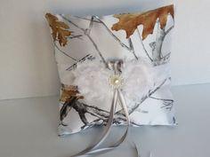 Camo Ring Bearer Pillow White Snowfall True by TheMomentWedding