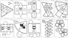 Plantillas de Figuras en 3D para armar. Poliedros para demostración para recortar y pegar. Figuras 3D para identificar. Sólidos platónicos para recortar y armar. Actividad para trabajar los cuerpos geométricos. Hojas de sólidos geométricos. Actividades de geometría para primaria. Actividad y material para la construcción de prismas. Cuerpos geométricos con personalidad. Fun Worksheets For Kids, Free Kindergarten Worksheets, Preschool Activities, Kids English, Math Projects, Yoga For Kids, 3d Shapes, Paper Toys, Applique Designs