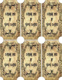 Vintage Inspired Halloween 6 Large Bottle Label Drink Me Scrapbooking Crafts