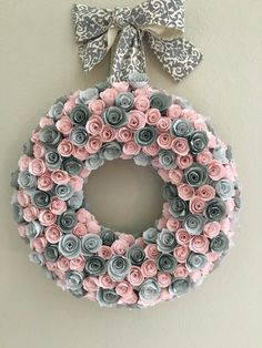 MADE TO ORDER: This sweet wreath measures 14in with its blooms. The paper flowers are in baby pink and light and dark grey. The hanger is a patterned grey ribbon which accents this sweet decor. ** All flowers are hand cut and crafted. Each wreath is unique because of the hand