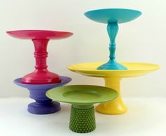 Frugal DIY: Colorful Cake Stands | The DIY Adventures - upcycling, recycling and DIY from around the world