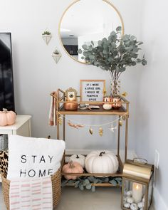Cozy Fall Bar Cart Mixed Metal Home Decor - The Fancy Things