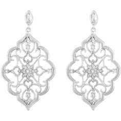 Kabella Sterling Silver Cubic Zirconia Lace Design Chandelier Earrings ($29) ❤ liked on Polyvore featuring jewelry, earrings, white, sterling silver butterfly earrings, sterling silver dangle earrings, cubic zirconia dangle earrings, white chandelier earrings and long chandelier earrings