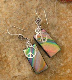 Dichroic Fused Glass  Earrings Tye Dye Peace Sign by GlassCat, $28.00
