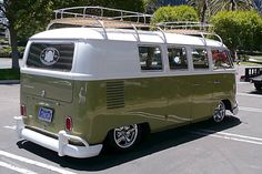 This reminds me of the bus I grew up camping in...only in better condition!