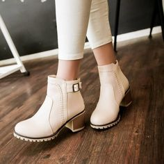 Buckle Ankle Boots High Heels Women Shoes                                                                                                                                                                                 Más