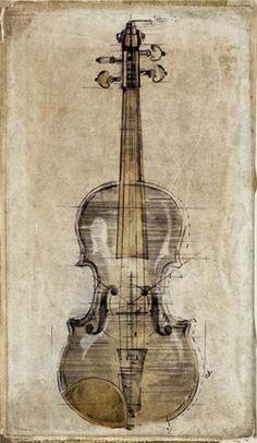 Framed Violin 3 Print