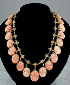 Antique Coral Cameo Necklace 14 kt Gold  Ca. 1880-1890.