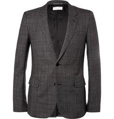 Saint Laurent Grey Slim-Fit Check Wool Suit Jacket | MR PORTER