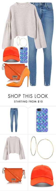"""""""Dreamsicle: Pops of Orange"""" by hipster-bohemian ❤ liked on Polyvore featuring Paige Denim, Casetify, MANGO, GUESS, Amanda Wakeley, Forever 21, Christian Louboutin, orangeoutfit and popsoforange"""