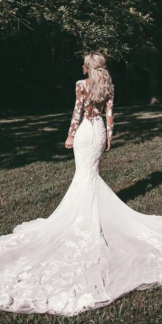 24 Best Lace Wedding Dresses With Sleeves ❤️ lace wedding dresses with sleeves mermaid floral illusion back sexy pronovias ❤️ Full gallery: https://weddingdressesguide.com/lace-wedding-dresses-with-sleeves/ #bridalgown