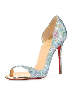 Toboggan+Glitter+100mm+Red+Sole+Pump,+Multi/Light+Gold+by+Christian+Louboutin+at+Neiman+Marcus.