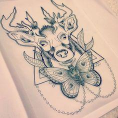 Deer-Head-With-Moth-Tattoo-Design.jpg (612×612)
