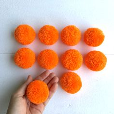 10 Orange 2 cotton yarn Big Pom Pom Hmong hill by moonshinecotton