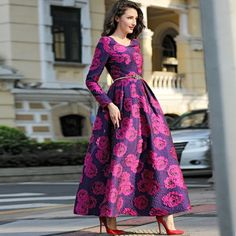 XXXL!Best Grade New Designer Brand Ball Gown Dress 2016 Autumn Winter Women Beautiful Rose Flower Print Long Sleeve Dress Plus * Be sure to check out this awesome product.