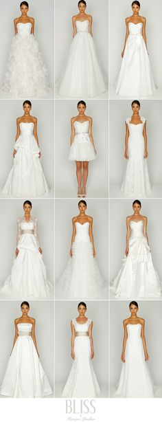 Monique Lhuillier Spring 2012 wedding gown collection....Learn every shape of the wedding gown here ....<3