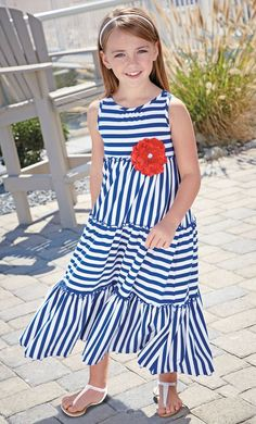 Girls Clothing by Mallory May Kids Frocks, Frocks For Girls, Dresses Kids Girl, Little Girl Outfits, Outfits For Teens, Dress Anak, Girl Dress Patterns, Striped Maxi Dresses, Baby Dress