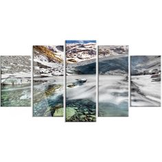 DesignArt 'Cave in Rugged Rocky Setting' 5 Piece Graphic Art on Canvas Set