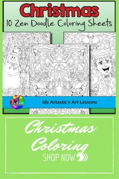 Christmas is coming! These 10, zen doodle coloring sheets will keep your students busy during the days leading up to Christmas. This product is one of my best sellers! All coloring pages are hand drawn by Ms Artastic.