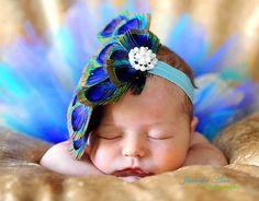 Newborn Peacock Tutu And Feather Fascinator Headband Newborn Photography prop/wedding/ Girl Birthday via Etsy