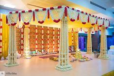 A 6 pillared muhurtham decor for Lakshmi & Srinath's beautiful 3 day TamBram wedding ! Reception Stage Decor, Wedding Stage Backdrop, Wedding Backdrop Design, Wedding Stage Design, Wedding Mandap, Wedding Ceremony, Marriage Hall Decoration, Engagement Stage Decoration, Wedding Hall Decorations