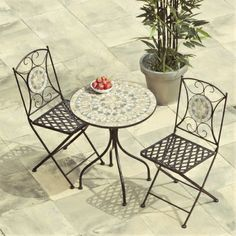 Selima Mosaic Cast Iron Bistro Set Bistro table set for the small balcony Round Garden Table, Garden Patio Sets, Garden Dining Set, Garden Furniture Sets, Outdoor Furniture Sets, Furniture Ideas, Furniture Design, Garden Ideas, Dinning Set