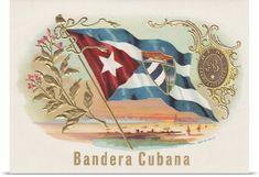 Art of the Cigar Poster Print Wall Art Print entitled Bandera Cubana Wall Art Prints, Poster Prints, Premium Cigars, Shopping Sites, Cuba, Fabric, Cards, Tejido, Tela