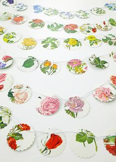 Mini bunting, Small garland, roses bunting, workspace decor, flower bunting, floral garland, paper bunting, recycled banner by PeonyandThistle on Etsy https://www.etsy.com/listing/234982353/mini-bunting-small-garland-roses-bunting