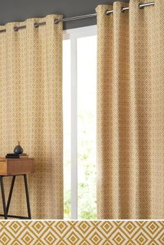 Buy Diamond Geo Jacquard Eyelet Curtains from the Next UK online shop Yellow Curtains, Grey Yellow, Next Uk, Uk Online, Geo, Fashion Online, New Homes, Stuff To Buy, Shopping