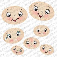Peachy Keen Clear CLING Rubber Stamps ~ WIDE  EYED KIDS FACE ASSORTMENT   Artesanato, Carimbos e gravação em relevo, Carimbos   eBay!