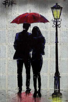 Umbrella Painting, Umbrella Art, Rain Rain Come Again, Drawing Rain, Drawing Sunset, Newspaper Art, Silhouette Art, Couple Silhouette, Wow Art