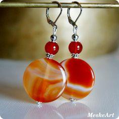 Narancs achát - karneol fülbevaló / Orange agate - karneol earring / Achát oranzovy - karneol nausnice