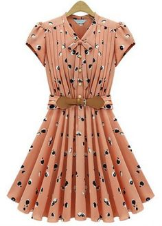 #sheinside Light Orange Short Sleeve Apple Print Bandeau Pleated Dress pictures