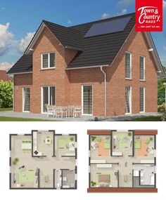 Modern Country Style Architecture with Stone Bricks Facade Design House Plans Lichthaus 152 - Dream Home Ideas Layout by Town & Country Haus - Arquitecture Contemporary European Styles House Plan and Interior - HausbauDirekt.de #home #house #houseplan #houseideas #newhome #dreamhome #homedesign #architecture #architect #arquitectura #construction #hausbaudirekt