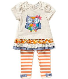 Rare Editions Baby Girls 12-24 Months Owl Top & Striped Leggings Set