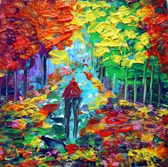 Art Paintings Ideas For Your Wall Decor: Modern Colorful Art Paintings Of Trees To Make Your Room Bright And Fresh
