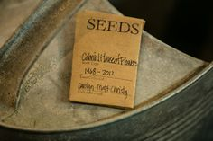 Handmade seed packets with wildflower seeds.