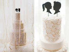 Laser cut flower cake with silhouette toppers.