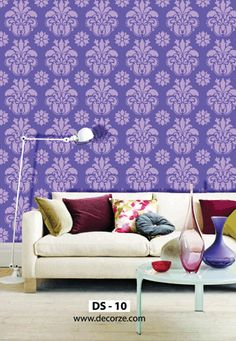 Wall Painting Stencils Designs for decor your wall Room Door Design, Wall Design, Wall Stencil Designs, Damask Wall, 3d Wallpaper Living Room, Living Room Modern, Modern Wall, Stencil Painting On Walls, Focal Wall