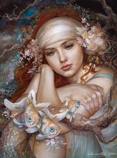 """Antiquated Thoughts"" - Annie Stegg, oil on canvas, 2012 {figurative #surreal art beautiful female redhead with fish young woman painting} anniestegg.com"