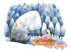 花瓣网-e and a little boy 作者:Xuan loc Xuan (on Behance) Anime Child, Children's Book Illustration, Whimsical Art, Illustrators, Watercolor Art, Character Design, Artsy, Art Prints, Drawings