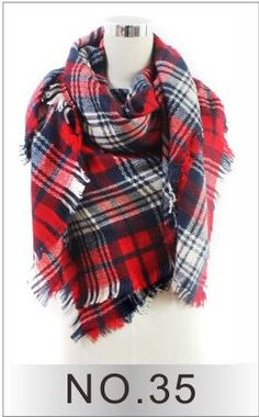 Red and navy tartan plaid Blanket Scarf