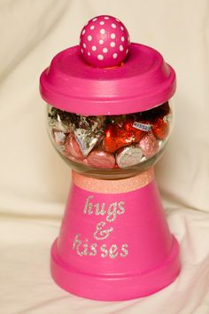 Valentine's Day Craft: Hugs and Kisses Gumball Machine. Love this idea for any occasion!