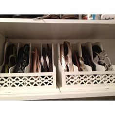 Closet storage for flats and flip-flops.