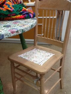 Use strips of vintage sheets and weave for seat!