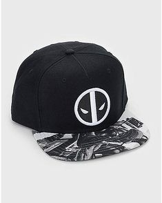 afbd3fbba4d41 Black and White Deadpool Snapback Hat - Marvel - Spencer s