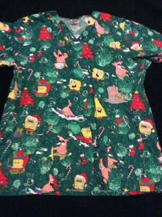 Nickelodeon Spongebob Christmas Scrub Top Size Large L Green with Red Trees