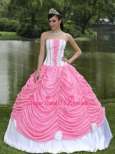 Custom Made Sweet 16 Dress With Strapless Ball Gown Rose Pink and Pick-ups