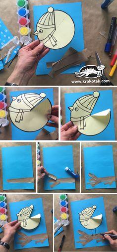 winter bird - Ausmalbilder, Spiele & Co. Kids Crafts, Winter Crafts For Kids, Winter Kids, Toddler Crafts, Winter Christmas, Easy Crafts, Winter Art Projects, Toddler Art Projects, Winter Project